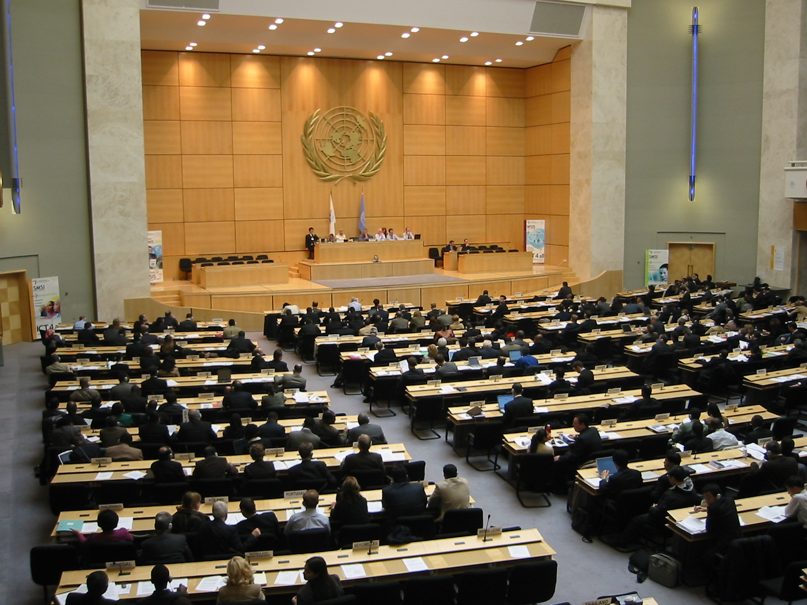 The Assembly Hall in the Palais des Nations building in Geneva is used for large or major meetings such as the World Health Assembly. Photo taken on February 24, 2005, during the second preliminary session of the World Summit Information Society, plenary meeting