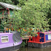 Static narrowboats at Hebden Bridge.
