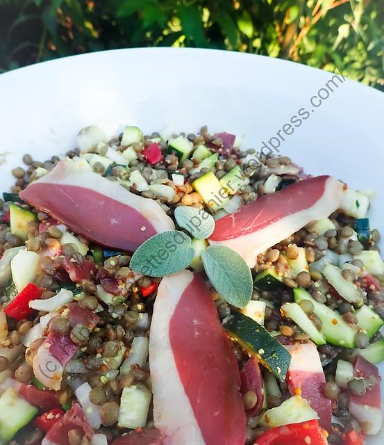 Salade de courgettes, lentilles et magret de canard / Zucchini, Lentil and Duck Breast Salad