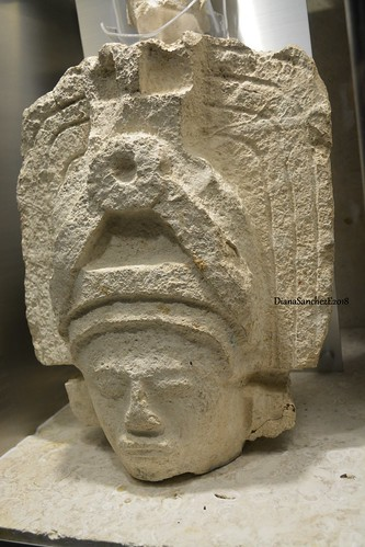 Rostro antropomorfo, procedencia Uxmal, Yucatan.