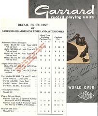 Garrard Brochure 1954 Price List