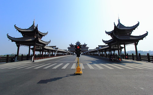 angle beauty composition landscape outdoor panorama paysage perspective scenery scenic shore view extérieur city urban cityscape travel ville architecture ciel blue sky cloud bridge pont puente pagoda red light summer asia asian asie china chine chinese tunxi vanishing point