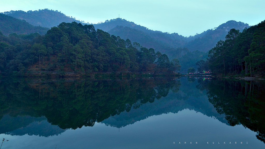Sattal lake on a clam and cold evening