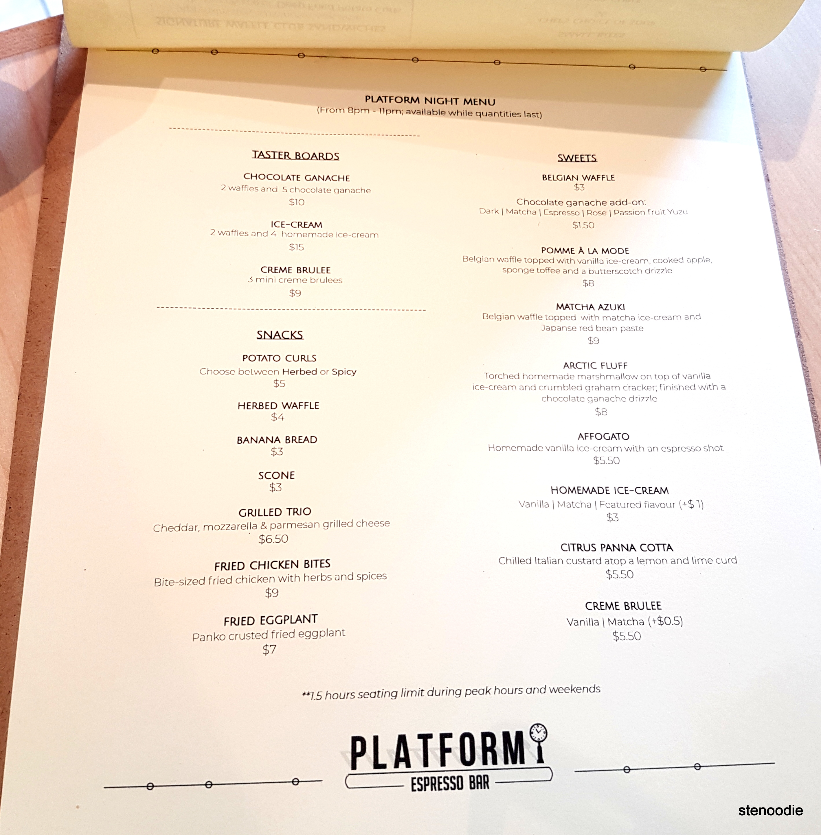 Platform Espresso Bar food menu and prices