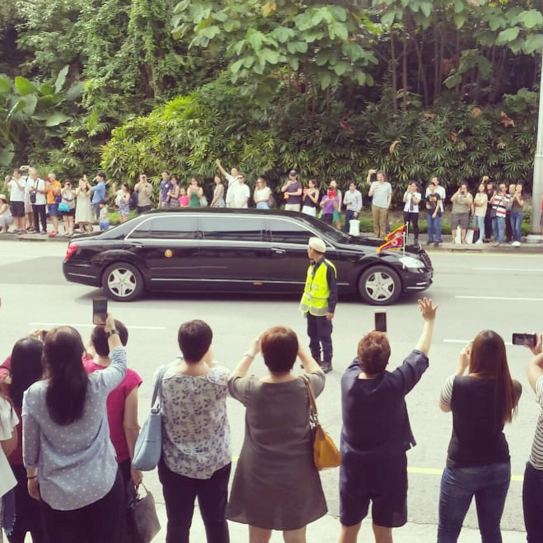 Kim Jong-un's limousine photographed on route to the St Regis Hotel in Singapore on June 10, 2018.
