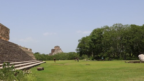 Magician's pyramid from the Governor's palace plaza at Uxmal.