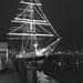 Tall Ship with Christmas lights, Liverpool