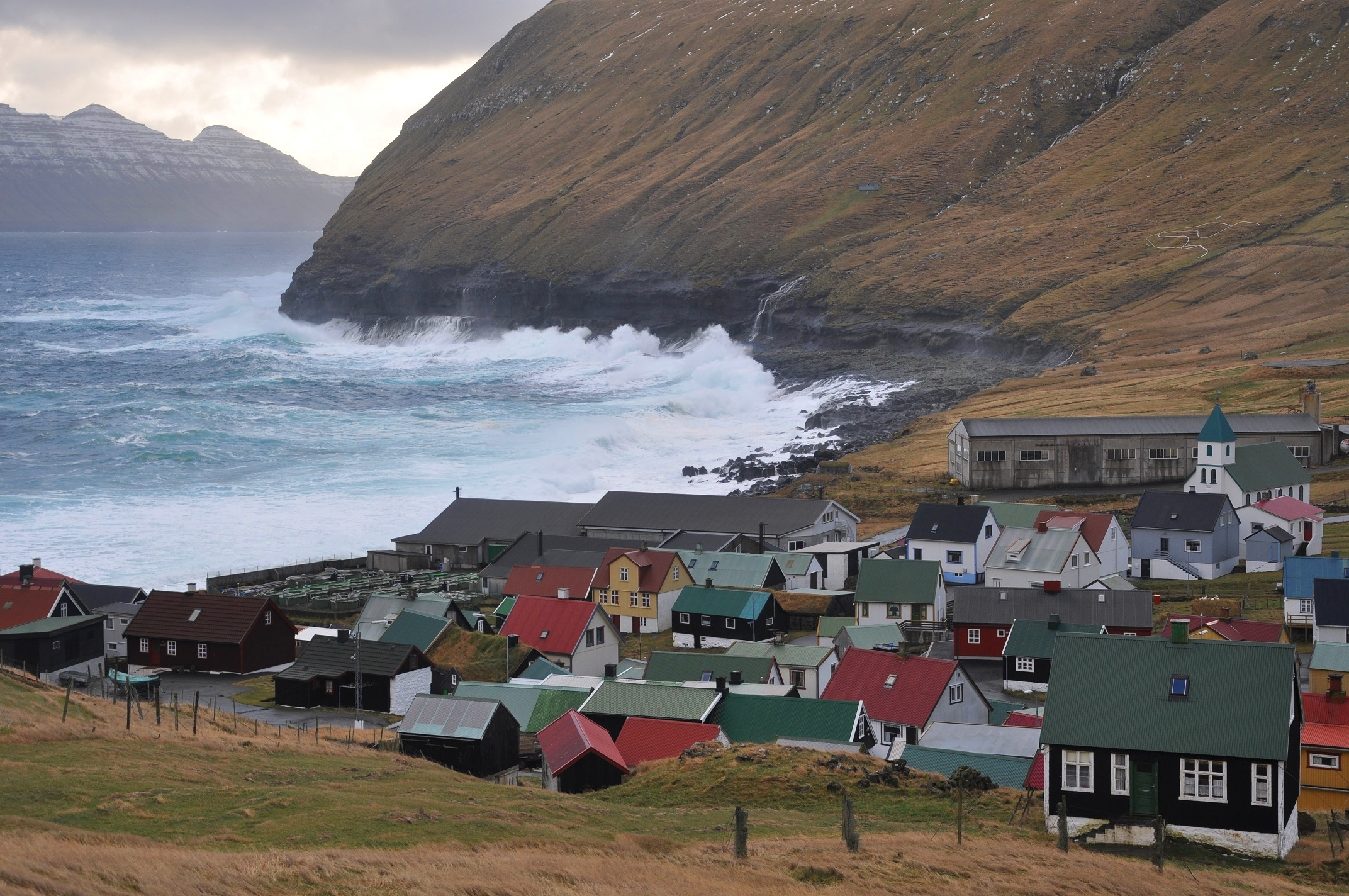Choppy seas and heavy surf at Gjógv (Eysturoy, Faroe Islands, Denmark). Photo taken on October 22, 2010.