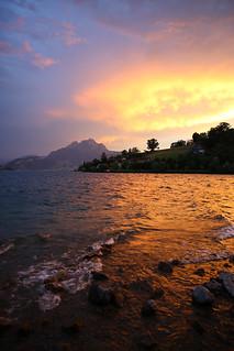 Sundown lakeside