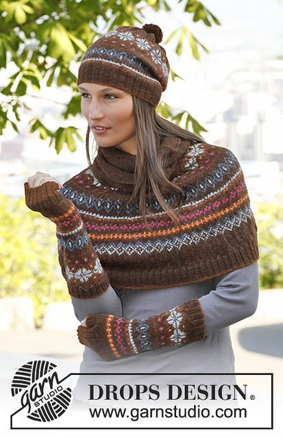 Drops Design's Autumn Aurora including the poncho, hat and wrist warmers designed to be knit with Drops Alpaca
