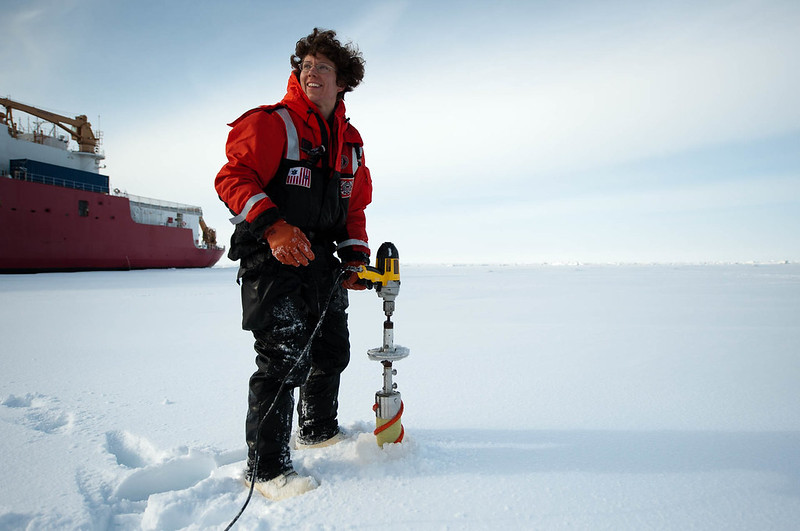 Chris Linder: Heloise Chenelot, a technician from the University of Alaska Fairbanks, takes ice cores with a corer that runs off an electric drill, 2009.