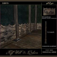 LD Half Wall & Column - Aquatic Mystic Creatures