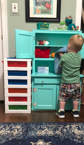 Play kitchen update one year later. EvinOK.com