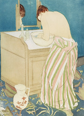 Woman Bathing illustration by Mary Cassatt (1844-1926). Original from Library of Congress. Digitally enhanced by rawpixel.