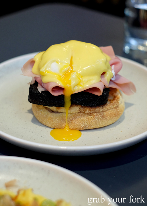 Eggs benedict, blood cake, leg ham and hollandaise at A1 Canteen by Clayton Wells in Chippendale Sydney