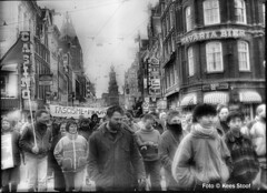 From the archive: demonstration against racism and fascism in Amsterdam 25-2-1990. The quality is poor. The negatives have been lost and these contact prints are the only thing left.