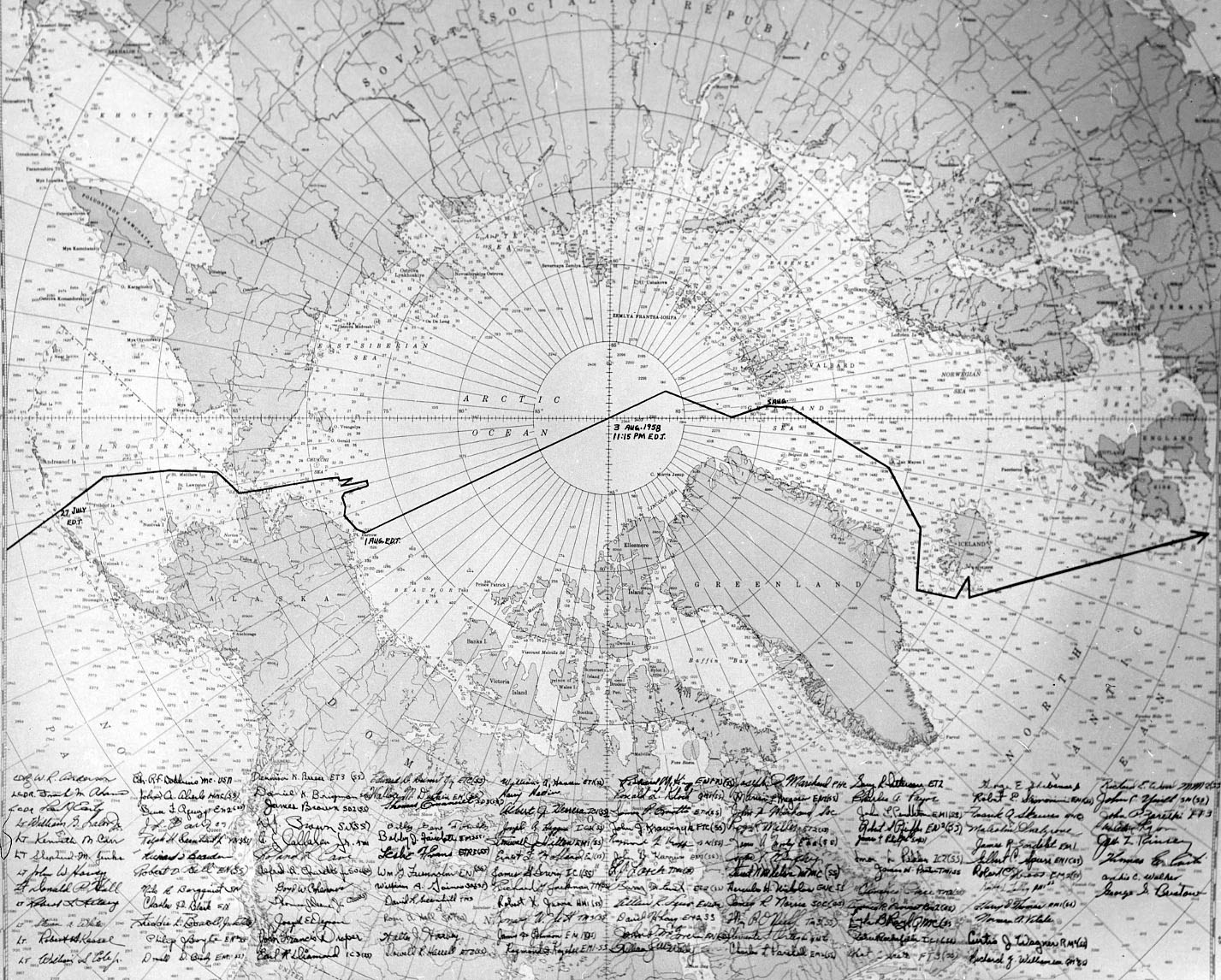 Chart showing the course taken by USS Nautilus during her voyage through the Arctic Ocean and under he North Pole in July-August 1958, signed by the officers and crew aboard during the cruise.