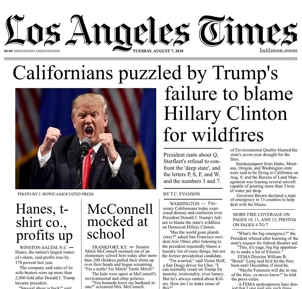Trump fails to blame Clinton - Los Angeles Times