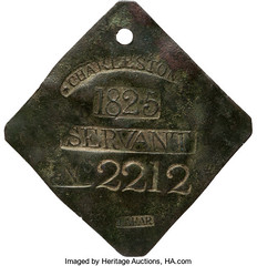 1825 Charleston Servant Slave Hire Tag obverse