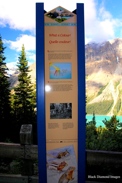 Bow Summit Lookout Interpretive Sign, Peyto Lake from Bow Summit Lookout, Banff National Park, Alberta, Canada