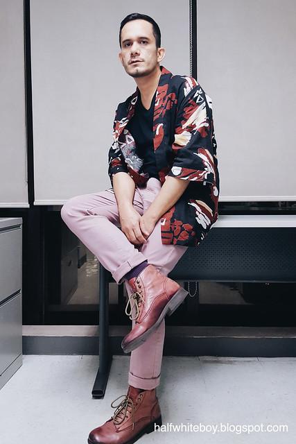 halfwhiteboy - printed kimono cardigan and old rose pants 03