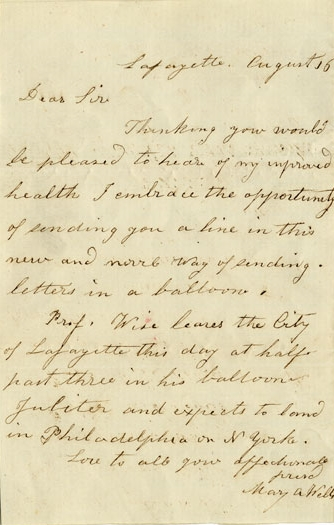 Letter carried aboard the balloon Jupiter's flight on August 17, 1859.