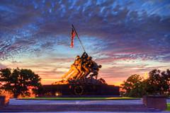 US Marine Corps War (Iwo Jima) Memorial sunrise (paint filter)