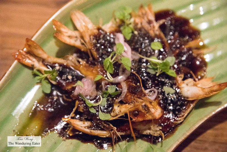 Black pepper prawn, oyster sauce, ginger, green chili