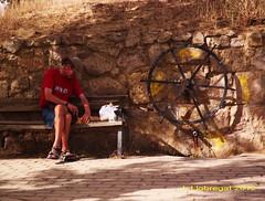 Preparando el bocadillo junto a la fuente. Boadilla del Camino