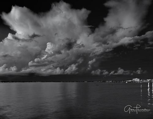 fujifilm fuji gfx50s fujigfx50s fujinongf3264mmf4rlmwr mf mediumformat monochrome bw blackwhite scenic landscape waterscape nature outdoors sky clouds storm pier dock stuart florida southeastflorida martincounty