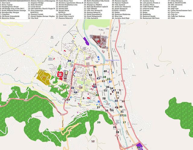 Карта Мостара с достопримечательностями и отелями