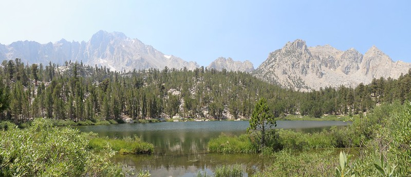 Gilbert Lake on the Kearsarge Pass Trail with University Peak on the left