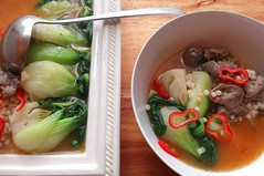 PASTA PEARLS, BOK CHOY, MOLLEJAS AND CHILLIES IN GINGER/TAMARIND BROTH