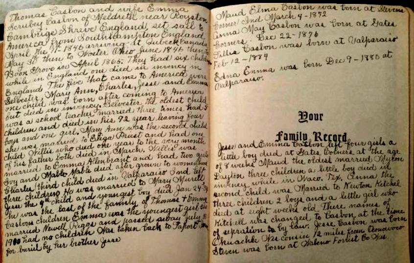 Elizabeth Casbon family bible