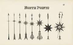 Designs of arrows pointing north from Draughtsman's Alphabets by Hermann Esser (1845–1908). Digitally enhanced from our own 5th edition of the publication.