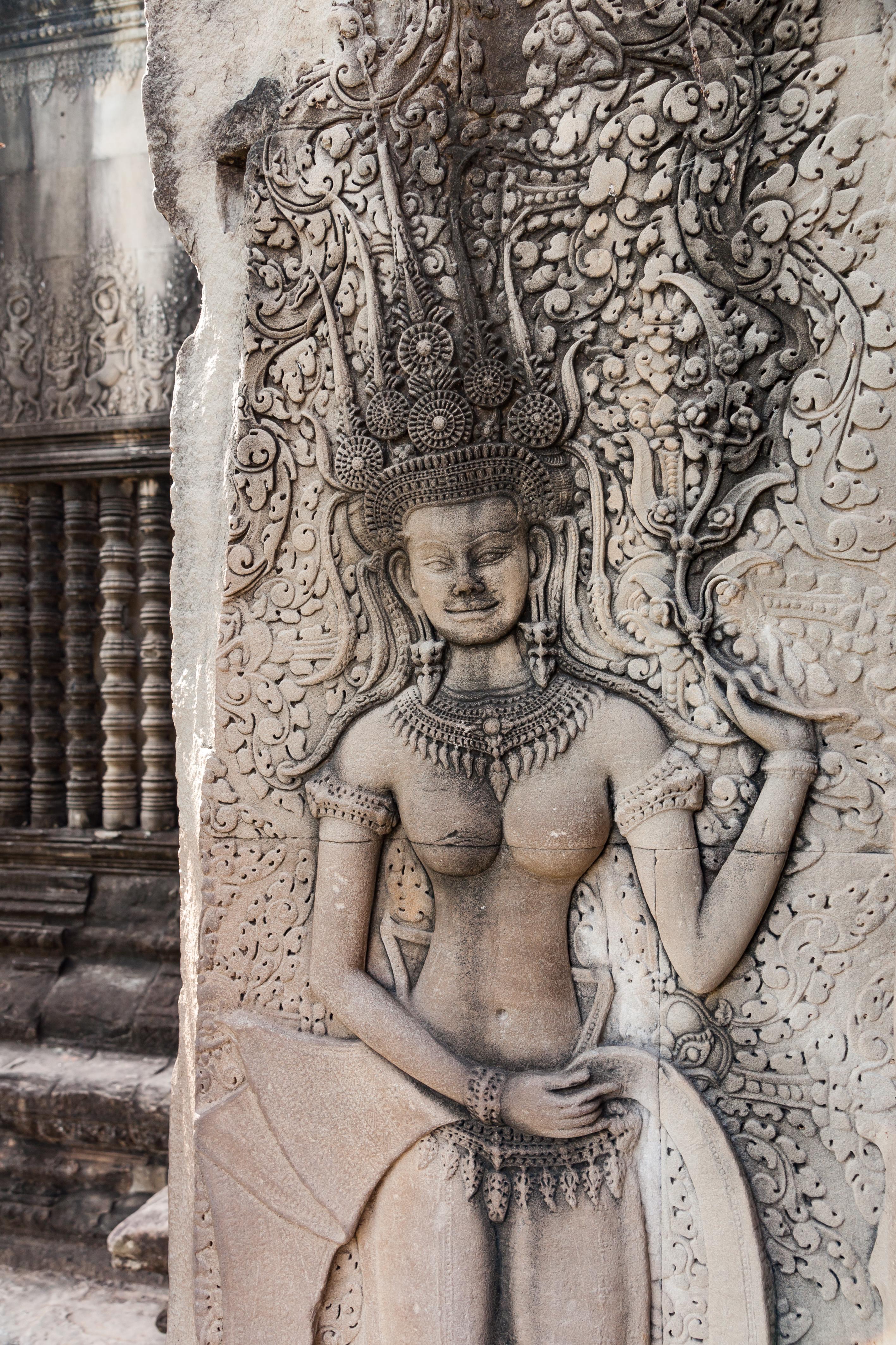 Depiction of Apsara in Angkor Wat, Cambodia. Photo taken on November 24, 2009.