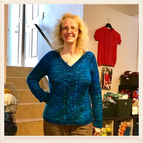 Linda decided to frog the ribbing of the neckline of her Brookings and re-knit it!