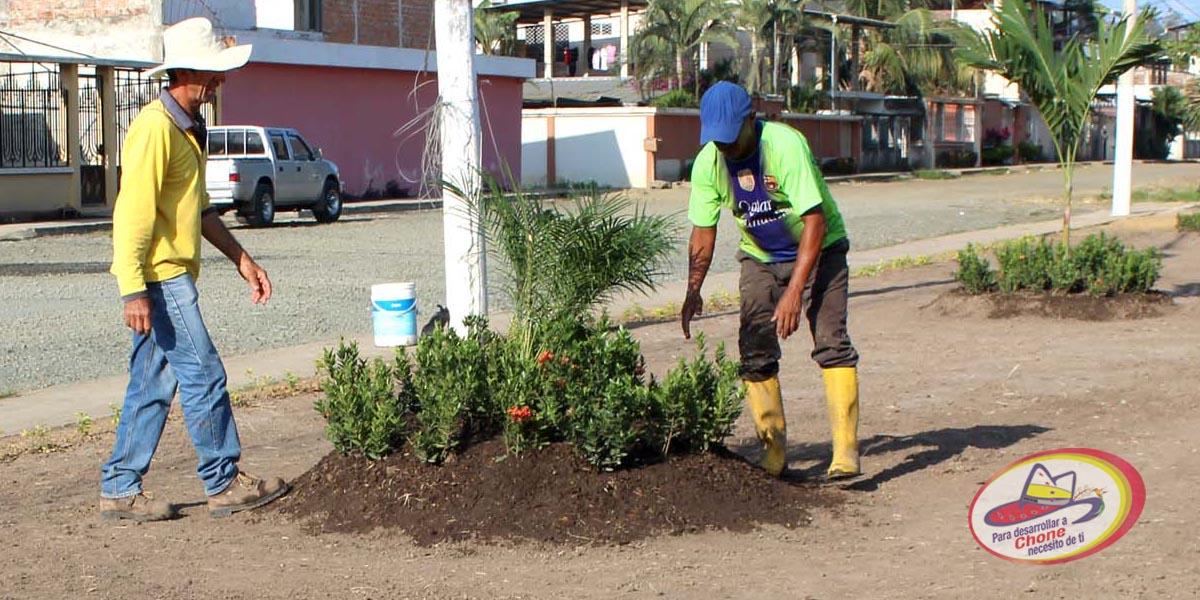 En ciudadela González se trabaja en parterre