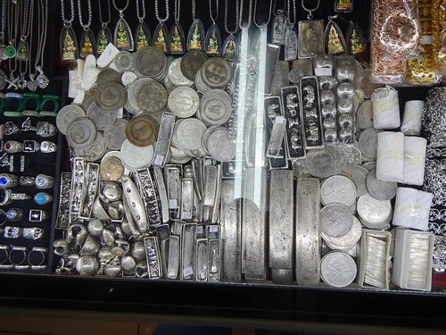 Replica numismatic items in Southeast Asian jewelry store