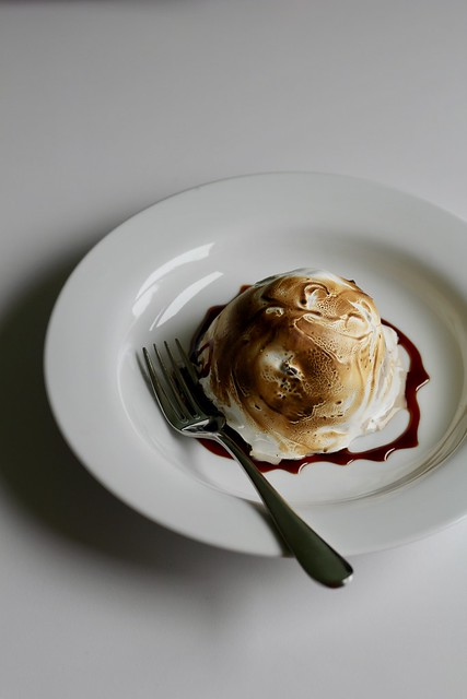 black-and-awhite baked alaska