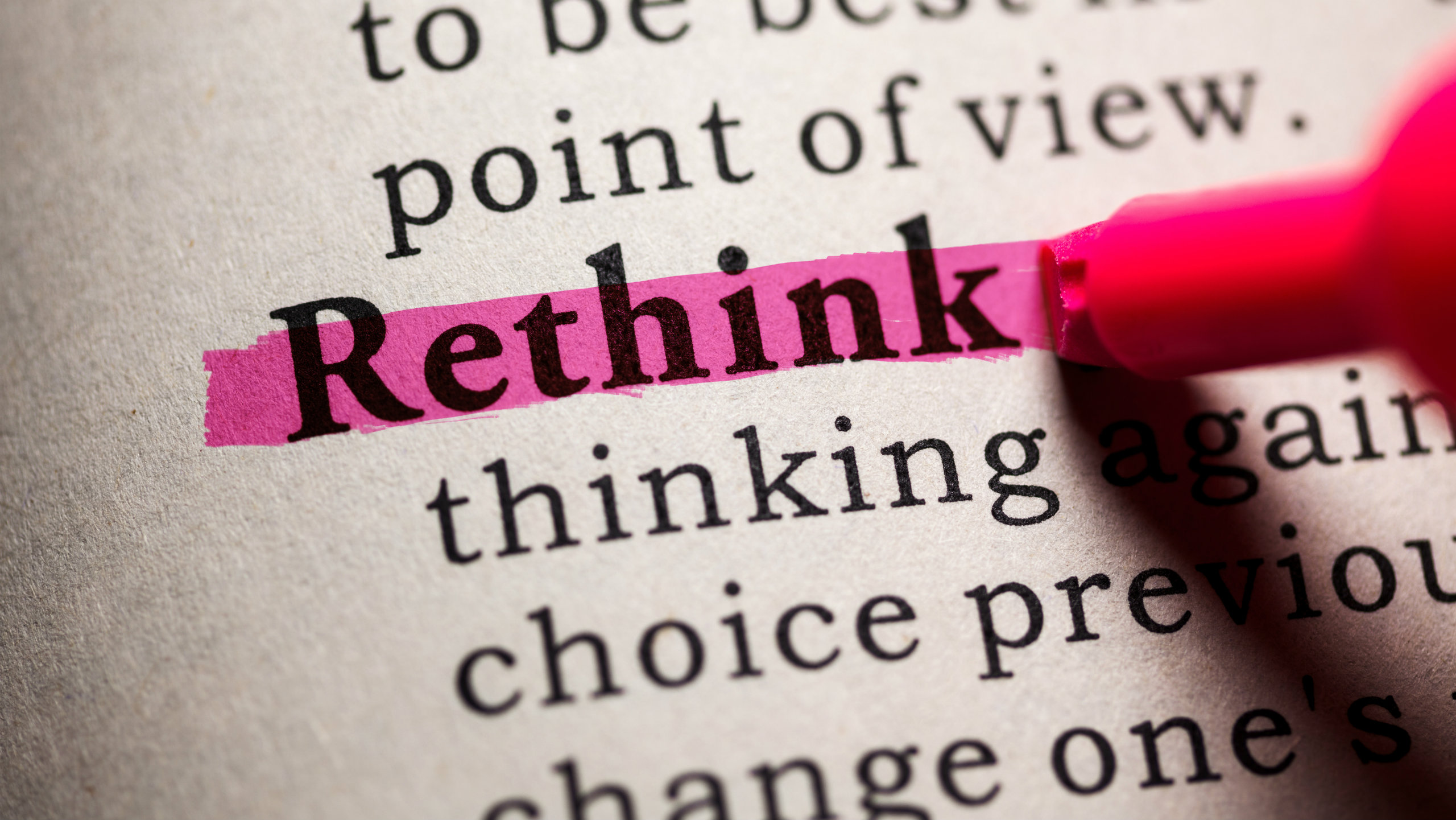 Rethink highlighted in a dictionary