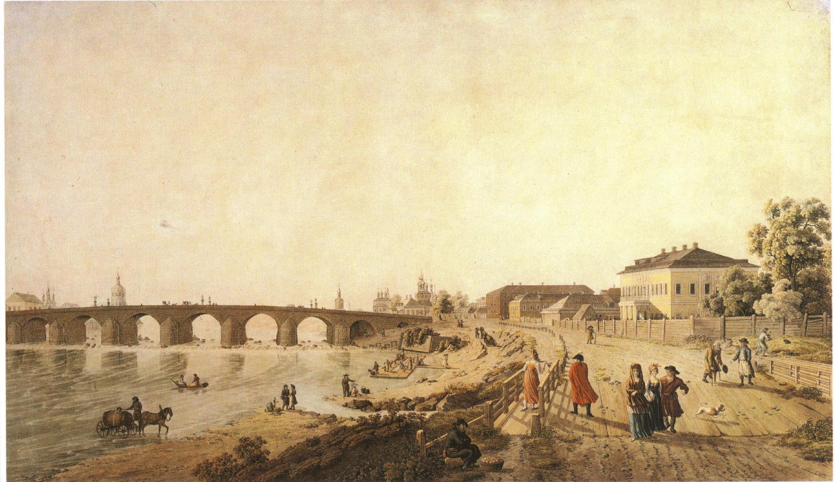 1800-е. Вид Каменного моста и его окружностей с деревянного мостика, что у Наугольной башни