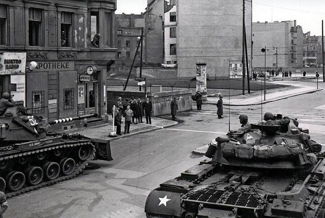 Soldiers from the U.S. Army Berlin Command face off against police from the former East Germany during one of several standoffs at Checkpoint Charlie in 1961. On several occasions that year, a U.S. quick reaction force of tanks and infantry Soldiers stood
