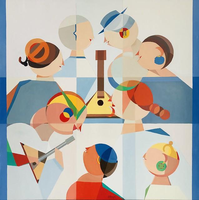 """Balalaika Lesson"" by Annemarie Ambrosoli, I.T.V. Holz-Art Gallery, Austria, Room 4217"
