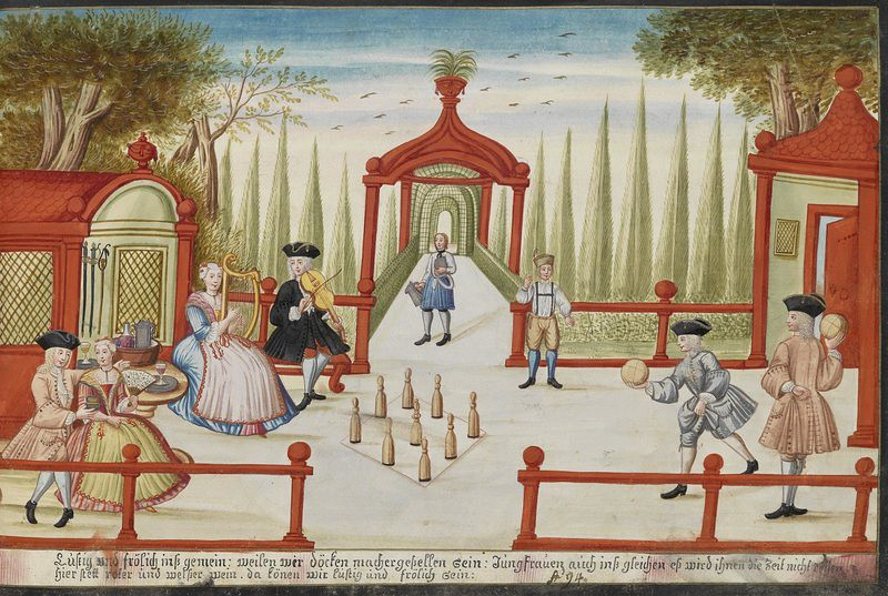 Lawn bowling by Franz Hormannspeger from 1736