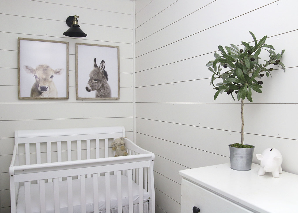 White Shiplap Baby Farmhouse Nursery Reveal