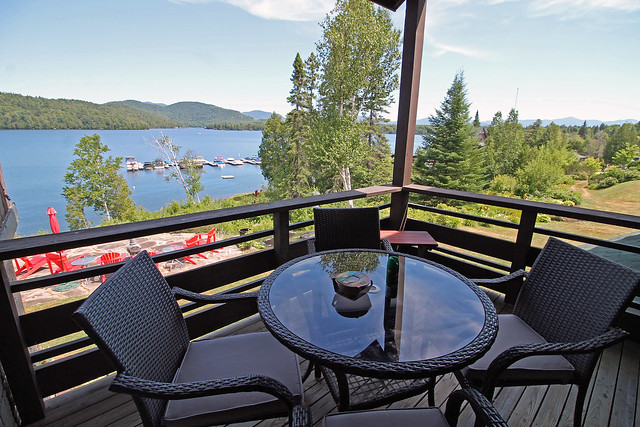Stunning views of the lake and mountains from the balcony of Loon Loj.