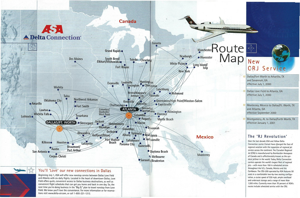 Airline Maps — ASA Delta Connection route map, 2000 The ASA...