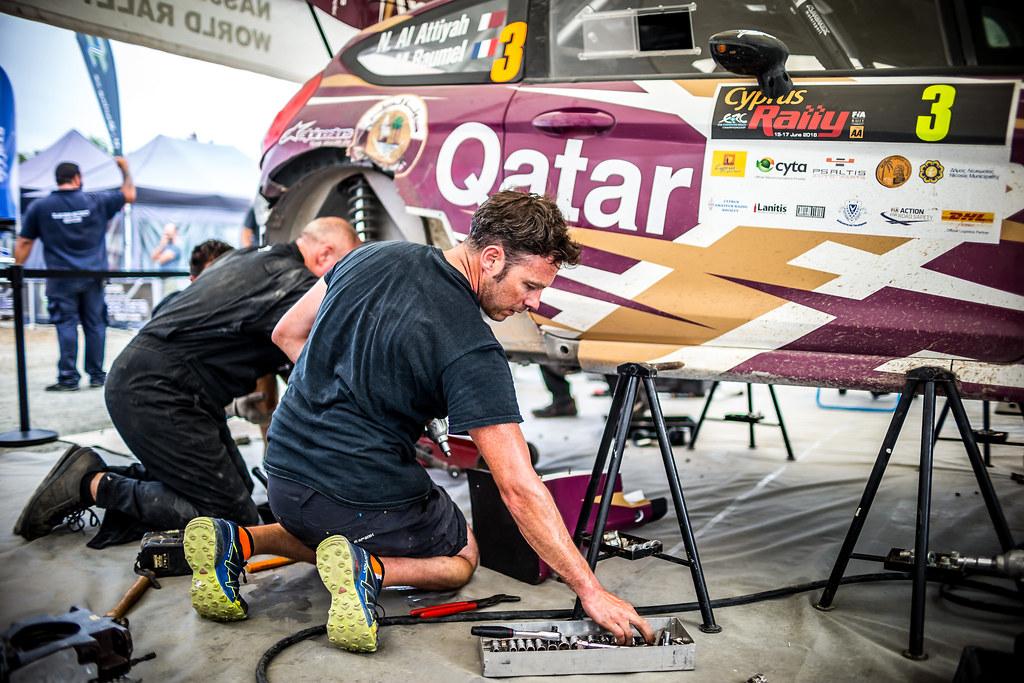 03 ALATTIYAH Nasser (QAT), BAUMEL Matthieu (FRA), NASSER ALATTIYAH, FORD FIESTA R5, service, mecaniciens, mechanics during the 2018 European Rally Championship ERC Cyprus Rally,  from june 15 to 17 at Larnaca, Cyprus - Photo Thomas Fenetre / DPPI