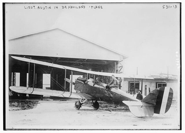 Lieut. Austin in De Havilland plane (LOC)
